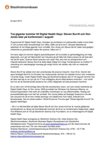 Två giganter kommer till Digital Health Days: Steven Burrill och Don Jones talar på konferensen i augusti