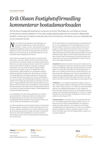 Erik Olson Fastighetsförmedling kommenterar bostadsmarknaden 19 augusti 2020