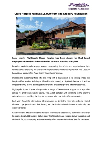 Chirk Hospice receives £5,000 from The Cadbury Foundation - Press Release PDF Version
