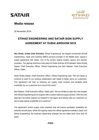 ETIHAD ENGINEERING AND SATAIR SIGN SUPPLY AGREEMENT AT DUBAI AIRSHOW 2019