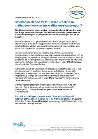 Stockholm Report 2011: Håller Stockholm måttet som konkurrenskraftig kunskapsregion?
