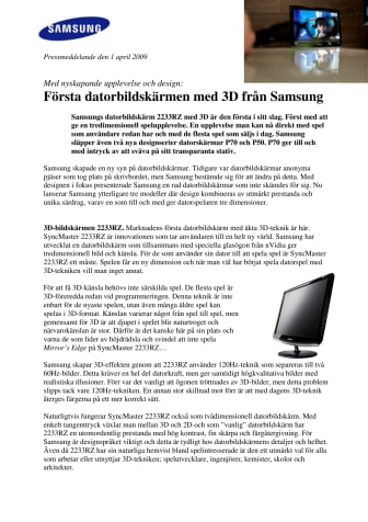 Första datorbildskärmen med 3D från Samsung