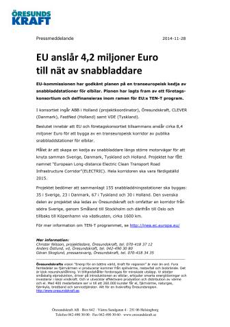 EU anslår 4,2 miljoner Euro till nät av snabbladdare