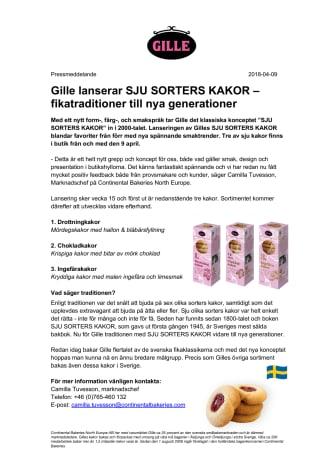 Gille lanserar SJU SORTERS KAKOR –  fikatraditioner till nya generationer