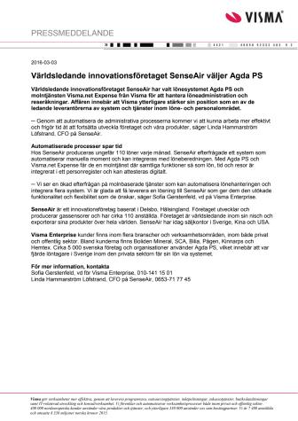 Världsledande innovationsföretaget SenseAir väljer Agda PS