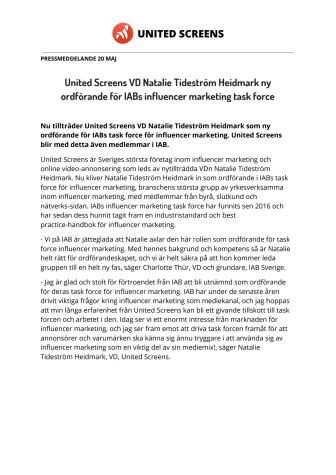 United Screens VD Natalie Tideström Heidmark ny ordförande för IABs influencer marketing task force