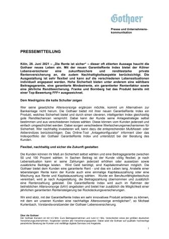 Neue Gothaer GarantieRente Index: Sicherheit, Rendite und Nachhaltigkeit