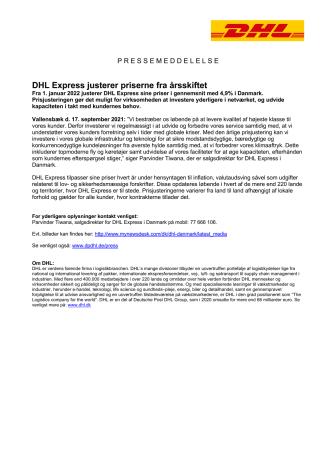 DHL Express justerer priserne fra årsskiftet