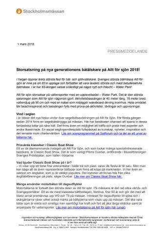 Storsatsning på nya generationens båtälskare på Allt för sjön 2018!