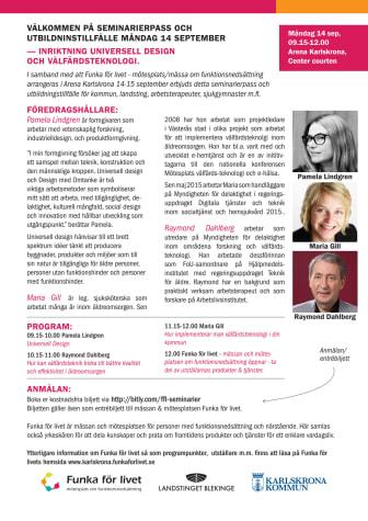 Seminareier- & utbildninspass universell design & välfärdsteknologi