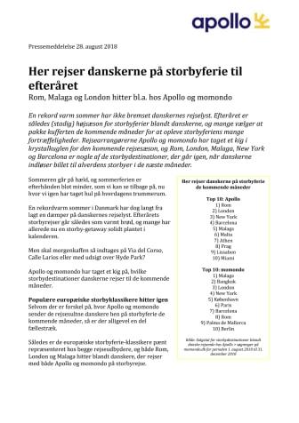 Her rejser danskerne på storbyferie til efteråret