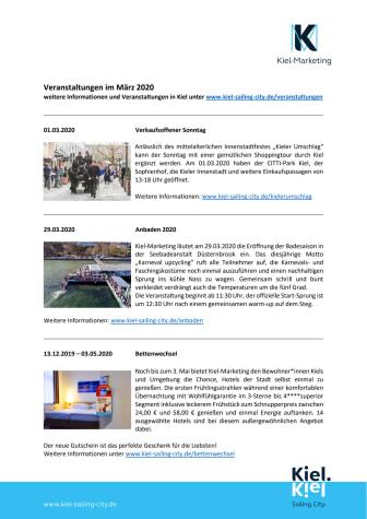 Veranstaltungen in Kiel im März 2020