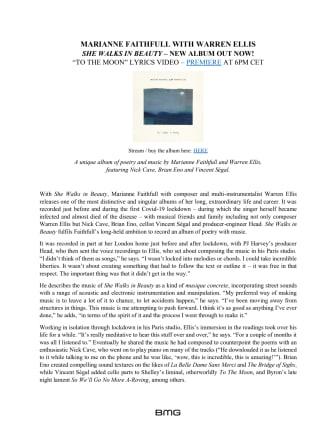 """Marianne Faithfull & Warren Ellis """"She Walks in Beauty"""" - engelsk pressrelease"""