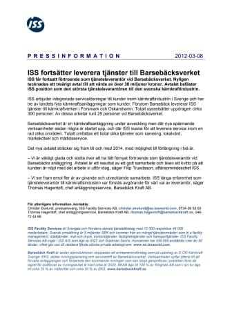 ISS fortsätter leverera tjänster till Barsebäcksverket