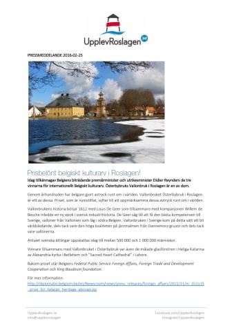 Prisbelönt belgiskt kulturarv i Roslagen