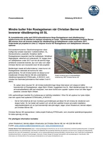 Mindre buller från Roslagsbanan när Christian Berner AB levererar rälsdämpning till SL