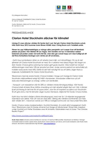 Clarion Hotel Stockholm släcker för klimatet