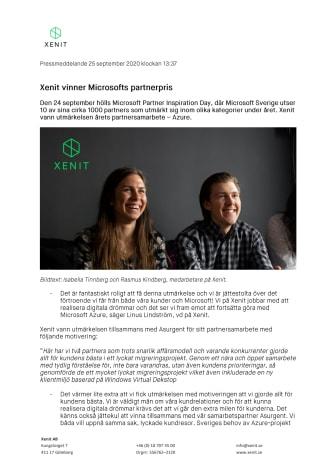 Xenit vinner Microsofts partnerpris