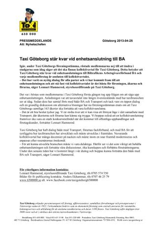 Taxi Göteborg står kvar vid enhetsanslutning till BA