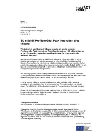 EU-stöd till Profilområdet Peak Innovation dras tillbaka