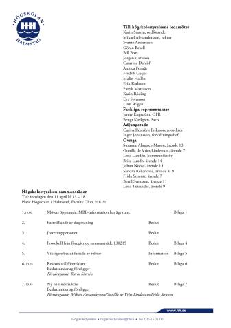 Dagordning för högskolestyrelsens möte 2013-04-11