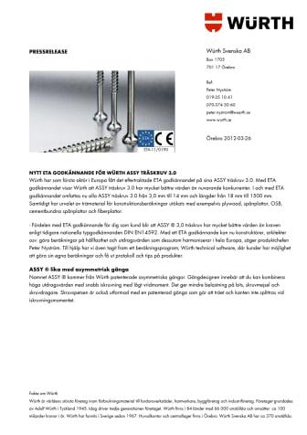 Nytt ETA-godkännande för Würth ASSY träskruv 3.0