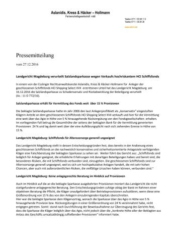Landgericht Magdeburg verurteilt Salzlandsparkasse wegen Verkaufs hochriskantem HCI Schiffsfonds