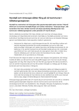 Nordsjö och Artscape sätter färg på 12 kommuner i Göteborgsregionen