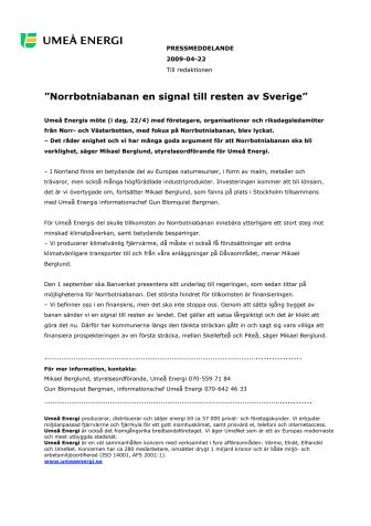 """""""Norrbotniabanan en signal till resten av Sverige"""""""