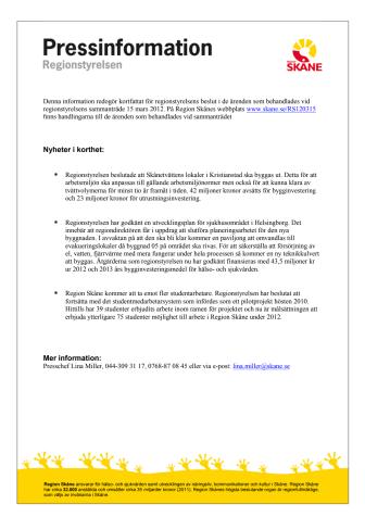 Pressinformation från regionstyrelsens sammanträde 2012-03-15
