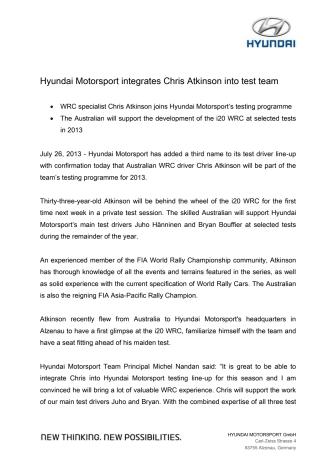 Chris Atkinson er tredje testfører for Hyundai Motorsport