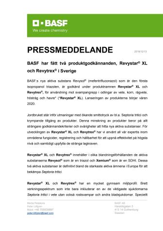 BASF har fått två produktgodkännanden, Revystar® XL och Revytrex® i Sverige