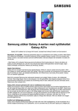 Samsung utökar Galaxy A-serien med nytillskottet Galaxy A21s