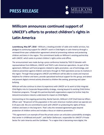Millicom announces continued support of UNICEF's efforts to protect children's rights in Latin America