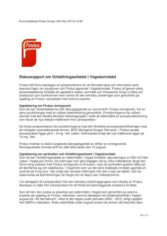 Statusrapport om förbättringsarbetet i Vegeåområdet