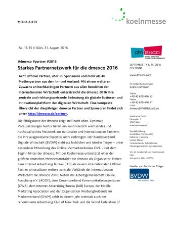 Starkes Partnernetzwerk für die dmexco 2016
