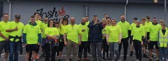 Organiser Brian Elwood (left centre) and Alderman Noel Williams (right centre) launching the Big Dander in Carrick on Friday 25 June 21.