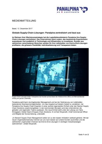 Globale Supply-Chain-Lösungen: Panalpina zentralisiert und baut aus