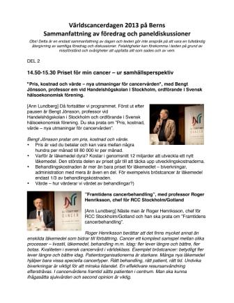 Sammanfattning av Världscancerdagen 4 februari 2013 - del 2