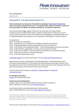 Pressinbjudan - Nationellt IT- och sportseminarium i Åre