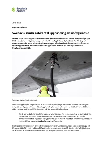 Swedavia samlar aktörer till upphandling av bioflygbränsle