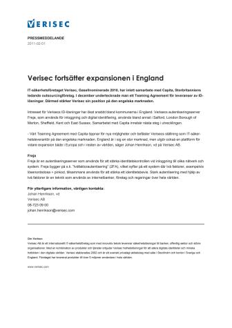 Verisec fortsätter expansionen i England