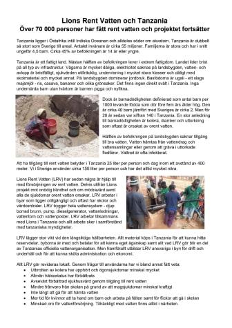 Lions Sverige bidrar med rent vatten i Tanzania -  70 000 personer har fått ökad livskvalité och projektet fortsätter