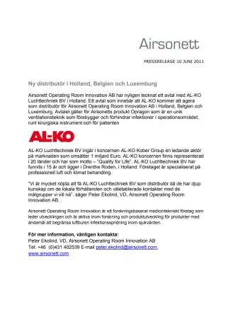 Airsonett har ny distributör i Holland, Belgien och Luxemburg
