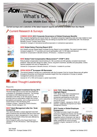 Aon Hewitt - What's On October 2012