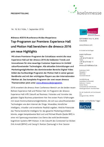 Top-Programm zur Premiere: Experience Hall und Motion Hall bereichern die dmexco 2016 um neue Highlights