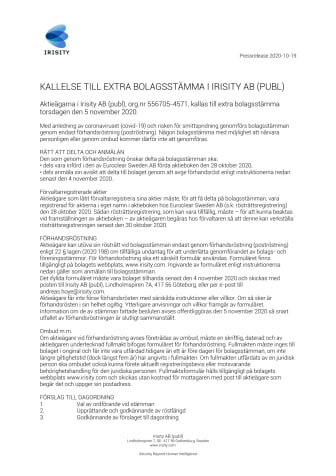 KALLELSE TILL EXTRA BOLAGSSTÄMMA I IRISITY AB (PUBL)