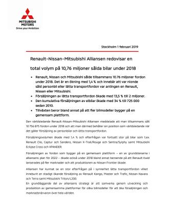Renault-Nissan-Mitsubishi Alliansen redovisar en    total volym på 10,76 miljoner sålda bilar under 2018