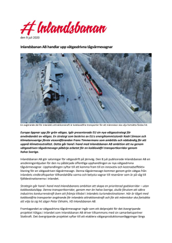 Inlandsbanan AB handlar upp vätgasdrivna tågvärmevagnar