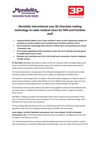 Mondelez Medical Visors and Charity Donations Press Release PDF